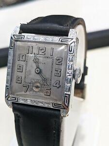 Vintage Bulova 1929 FRANKLIN. Square Art Deco, Enamel Case. Excellent Condition