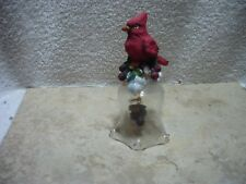 Glass Bell Cardinal Christmas Bell 5 Inches Tall