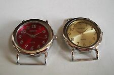 SET OF 2 SILVER WITH RED & GOLD DIAL WATCH FACES FOR BEADING,RIBBON OR OTHER USE