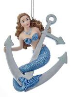 Kurt Adler Mermaid with Ships Anchor  Holiday Ornament Resin