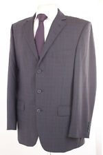 M&S PERFORMANCE GREY CHECK 100% WOOL MEN'S SUIT 40R DRY-CLEANED