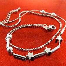 Solid Ladies Star Bead Link Design Anklet Xl Bracelet 925 Sterling Silver S/F