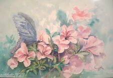 """""""Butterfly on Azalea"""" Original Water Color Painting Artist Signed Framed 29x22"""""""