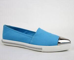 Miu Miu Aqua Blue Canvas Pointed Toe Slip-on Shoes w/rubber Sole
