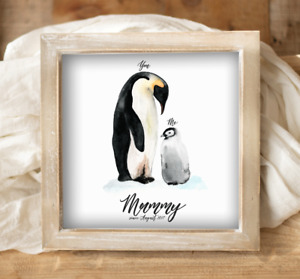 """Personalised Wooden FRAMED 9x9"""" Mummy Gift or Mother's Day Gift Penguin Picture"""