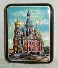 "Russian small Lacquer box Mother of pearl "" St Petersburg Church "" Hand Painted"