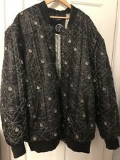 Authentic Rocawear 6XL Quilted Leather Black Bomber Jacket Embroidered PIMP AF!!