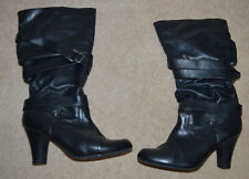 Faded Glory Women's Black Mid-Calf Pull On High Heel Boots Size: 9