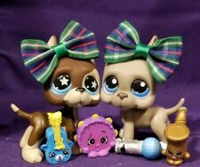 Authentic Littlest Pet Shop Great Danes Lot 817 Gray 184 RARE Blue Dot star Eyes