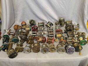 Vintage Lot Of 43 Fishing Reels For Parts Repair Display