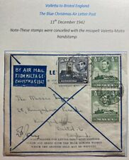 1942 Valletta Malta Christmas Air Letter Cover To Bristol England
