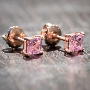Princess Cut Small Solitaire Rose Gold Sterling Silver Pink Screw Back Earrings