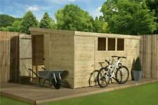 Garden Shed 10x8 Pent Shed Tongue and Groove 3 Low Windows Pressure Treated