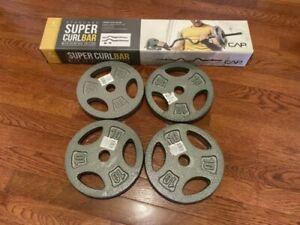 """CAP Super Combo Curl Standard 1"""" Weight Lifting Bar 4 pc SET. (4)10lb Cap Plates"""