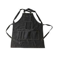 Black Cotton Denim Apron Cooking Apron With Pocket Strap For Barber Chef
