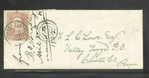 US 1864 Philadelphia Cover To Famous Civil War Balloonist Under Lincoln TSC Lowe