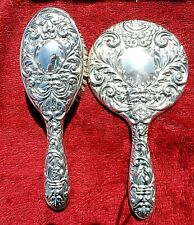 VINTAGE REPOUSSE HALLMARKED SILVER HAND MIRROR & BRUSH SET BY B & Co c1955 VGC
