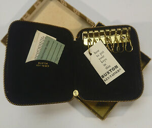 Vintage Buxton Pebbled Black Leather Key Case Key-tainer Unused w/ Box