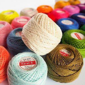 Cotton Crochet Embroidery Yarn 71yd/65m Size 8 Quality Ball Thread Floss 10g