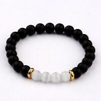 8MM Natural Lava Cats Eye Stone Hand Beads Charm Men Women Fashion Bracelets