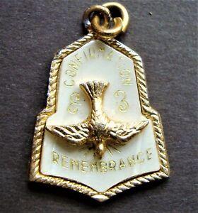 Vintage Confirmation Remembrance Medal Come Holy Ghost Enlighten Me