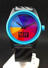 NEFF Striped Black Rainbow Men's Silicone Quartz Watch NEW!