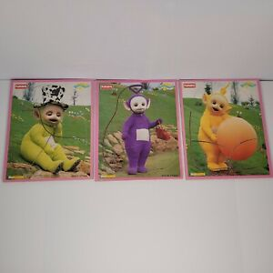 VTG 1998 Playskool TELETUBBIES  Wooden Tray Puzzles Lot of 3