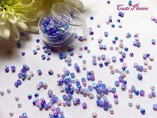 Mermaid Pearl Mix Pot 3mm Pink Purple Blue Fade Effect Flat Back Nail Art Gem M3