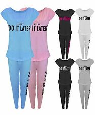 Damen Just Do It Anzug Leggings Jogginghose Yogahose Fitnessstudio T-Shirt Top