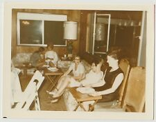 Vintage 60s PHOTO Group Women At Gathering In Living Room