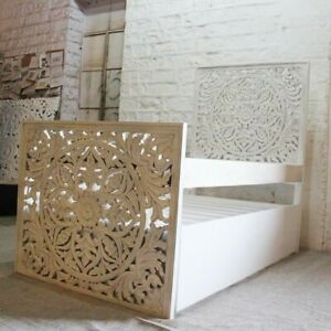 MADE TO ORDER Dynasty Hand Carved Indian Sera Wooden Trundle Bed White Storage