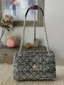 KATE SPADE NATALIA METALIC TWEED MEDIUM FLAP SHOULDER QUILTED BAG $429