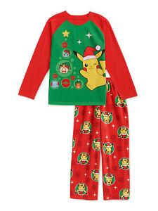 Pokemon Pikachu Pajamas Pants Shirt Boy Girl 4 6 8 10 12 14 16 Christmas Holiday