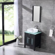 "24"" Bathroom Vanity Drawer Cabinet Ceramic Vessel Sink Combo w/Mirror&Faucet New"