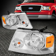 FOR 2004-2008 FORD F150 PICKUP PAIR CHROME HOUSING AMBER SIDE HEADLIGHT/LAMP SET