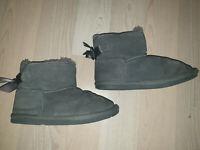 Lammfell Rindleder Boots Leder Grösse 33 Grau Wildleder Mädchen