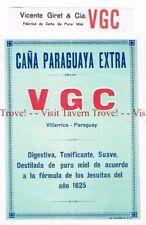 Unused 1940s PARAGUAY Vailarrica Vincente Giret & Cia Cana Paraguaya Label Set