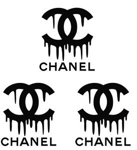 "3 Chanel black drip Logos 2"" Inch Heat Transfer Vinyl HTV FREE SHIPPING!"