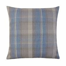 STIRLING BLUE GREY TARTAN CHECK EVANS LICHFIELD WOOL LOOK CUSHION COVER 17""