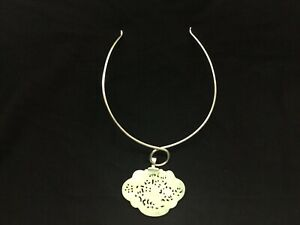 AKR Amy Kahn Russell Sterling Silver And Jade Pendant Necklace