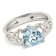 De Buman Sterling Silver 2.16ctw Triangle Sky Blue Topaz  Elegant Ring, Size 7