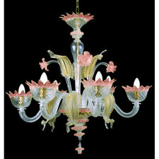Muranese chandelier in Murano glass 6 lights crystal pink and gold