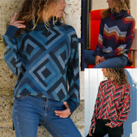 Womens Geometric Print Long Sleeve Jumper Tops Ladies Holiday Casual Sweatshirt