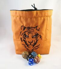 Square Dice Bag - Tiger Bag for Dice - Drawstring Tile Pouch - Destiny Bag DND