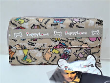 Faux Leather Beige Nude Puppy Love Dog Animal Paw Bone Multi Color Wallet