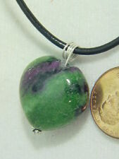 BUTW ruby in zoisite sterling  wire wrapped lapidary puff heart pendant 4706B