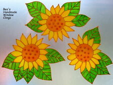 ~BEA'S SUNFLOWERS STAINED GLASS EFFECT WINDOW CLINGS~