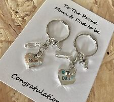 The Proud Mum Dad to be pregnancy charm keyrings dummy - baby shower gift