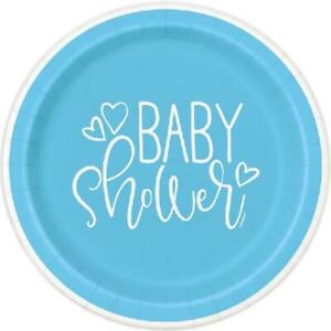 """Baby Shower Blue Heart 9"""" Plates - Pack of 8"""
