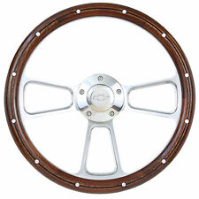 Chevy C10 Pick-Up Truck Real Wood Steering Wheel & Billet Adapter - 1960 to 1969